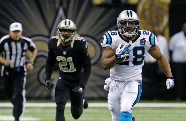 Jonathan Stewart breaks away for a 69-yard touchdown run against the Saints. [Photo AP - Bill Feig]