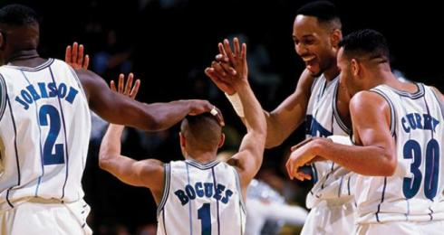Hornets - Alonzo Mourning, Mugsy Bogues, Dell Curry and , Larry Johnson 1995